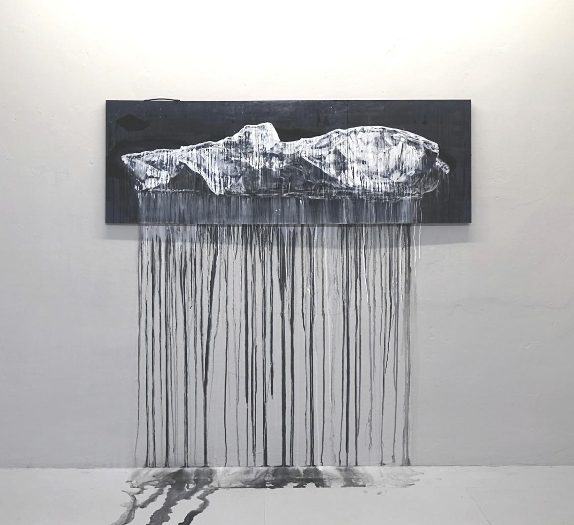 »Aus der Form« 2019, Acryl, Lack auf Tapeziertisch, 60 x 175 cm