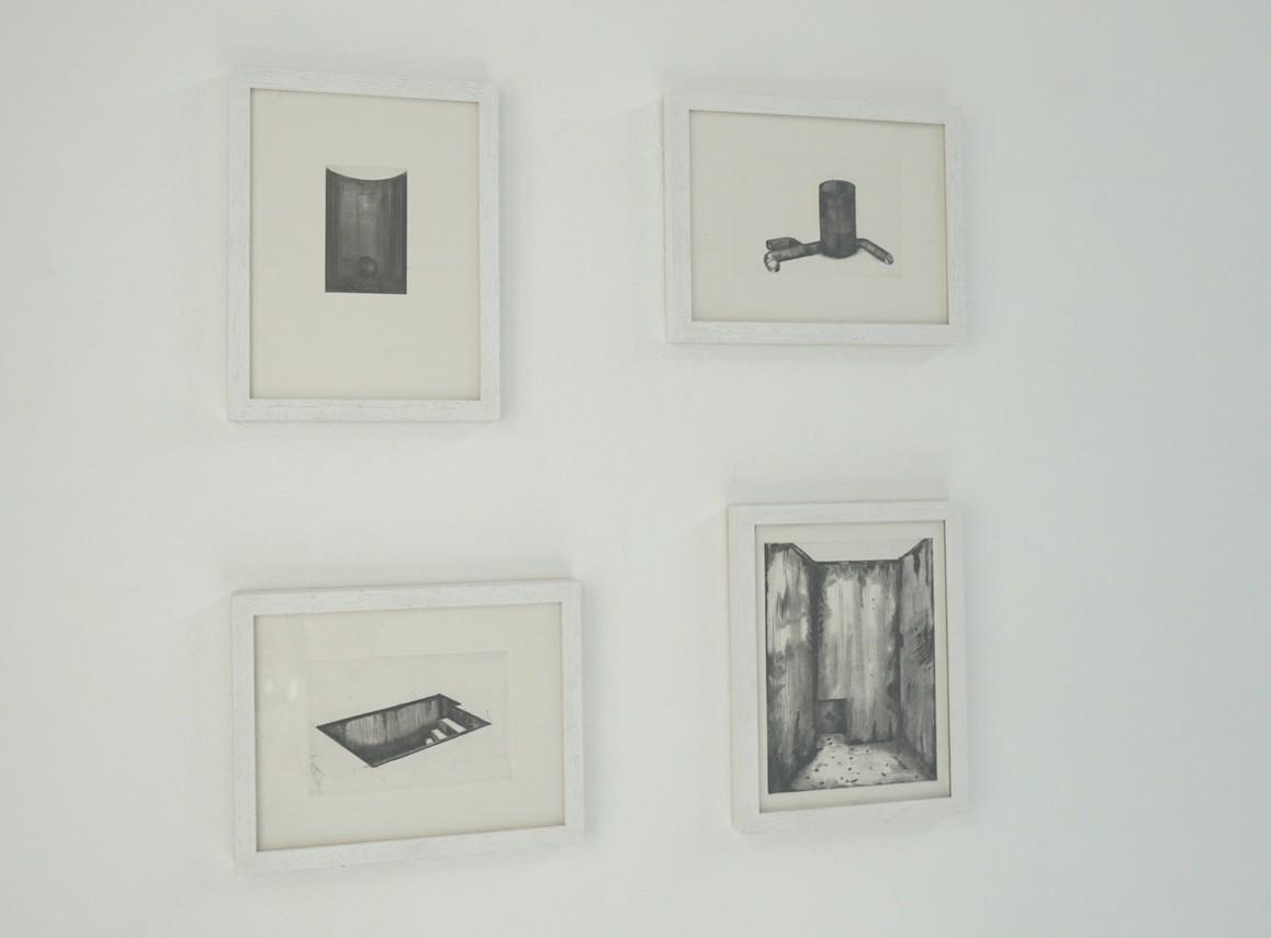 Jochen Damian Fischer / Subterran I – IV, 2018, Radierung, jeweils 18 x 24 cm (Blattmaß)