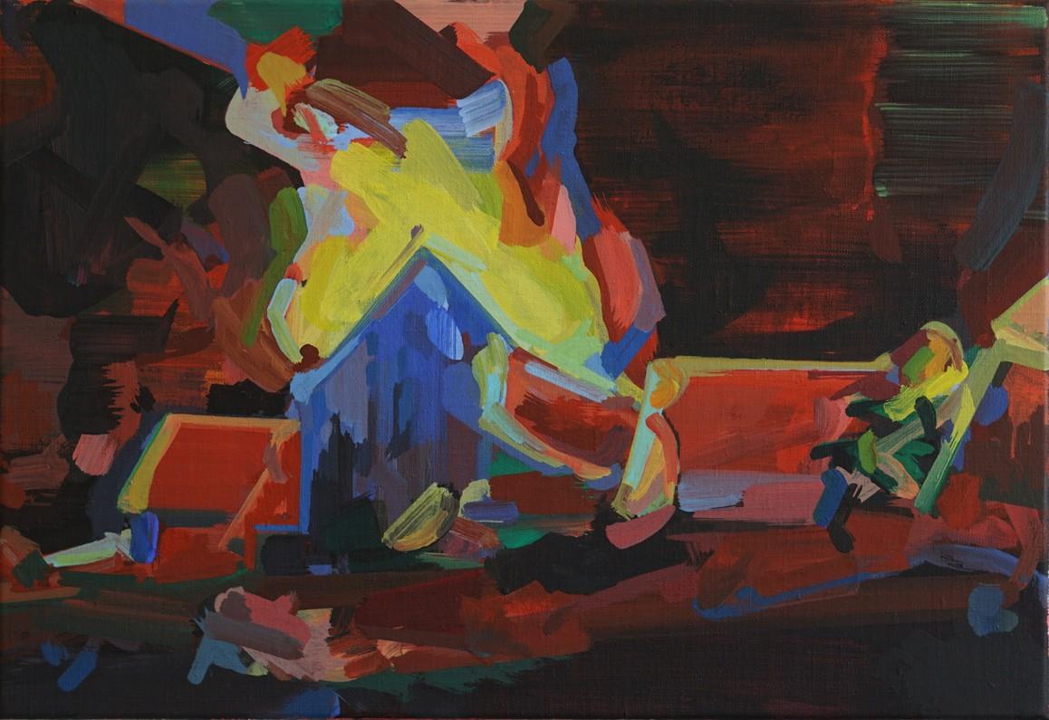 o.T. 2019, Acryl auf Leinwand, 38 x 55 cm