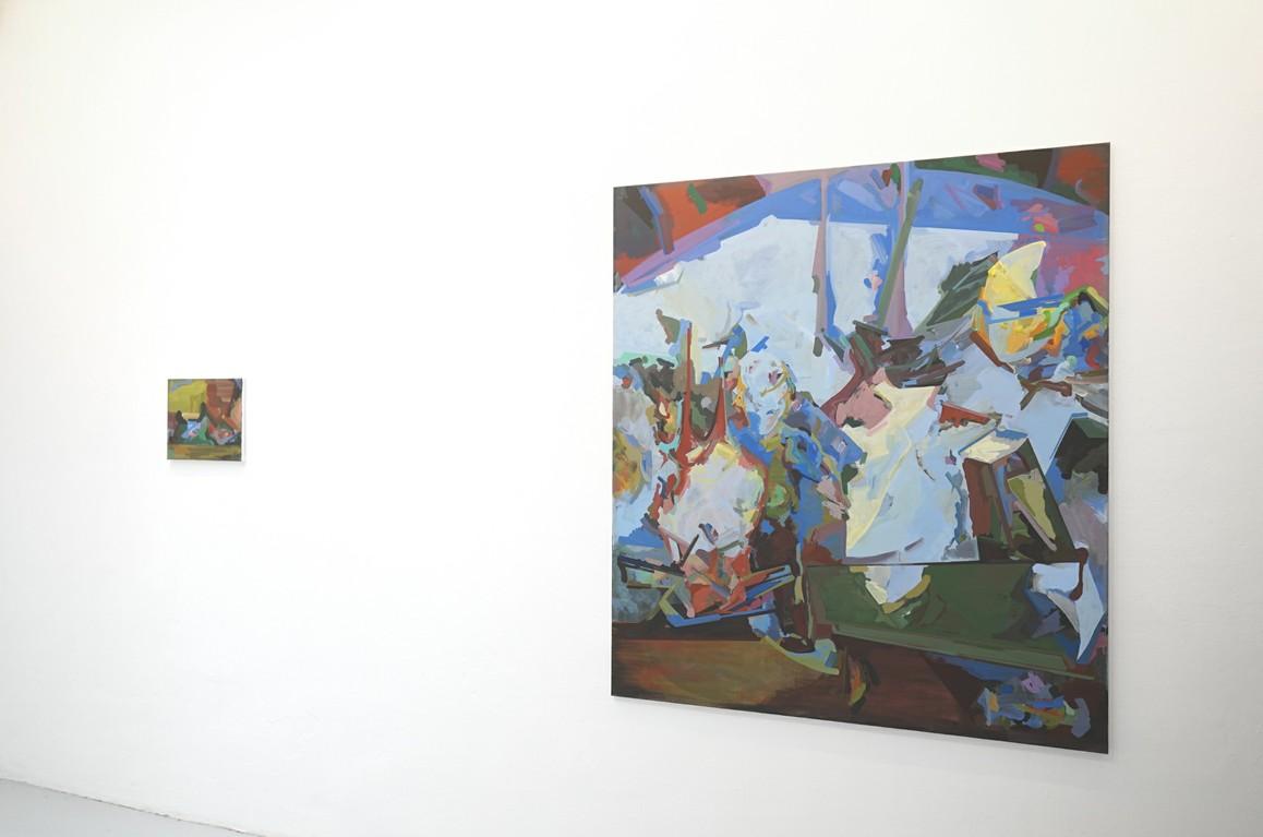 o.T. 2019, Acryl auf Leinwand, 30 x 35 cm / »TIFFYLAND« 2019, Acryl auf Leinwand, 155 x 135 cm