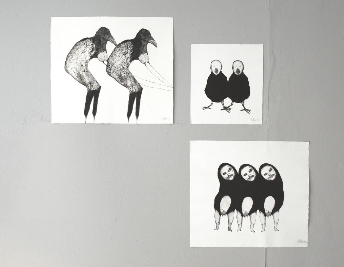 Saba Niknam o.T. 2012, Plexiglas Kaltnadelradierung auf Papier, 50 x 59 cm, 38 x 35 cm, 50 x 57,5 cm