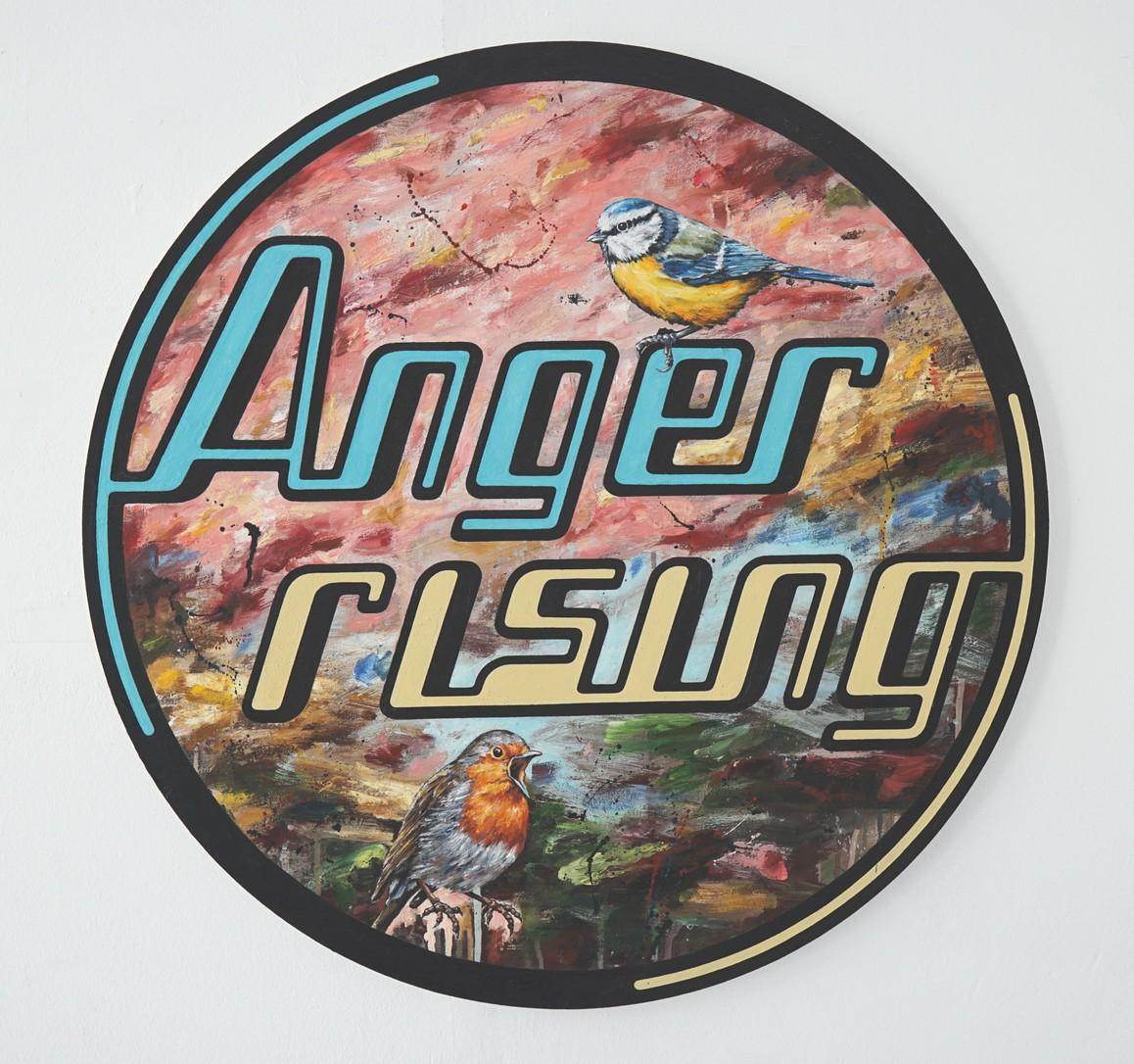 »Anger rising« 2014, Öl auf Leinwand, ø 80 cm