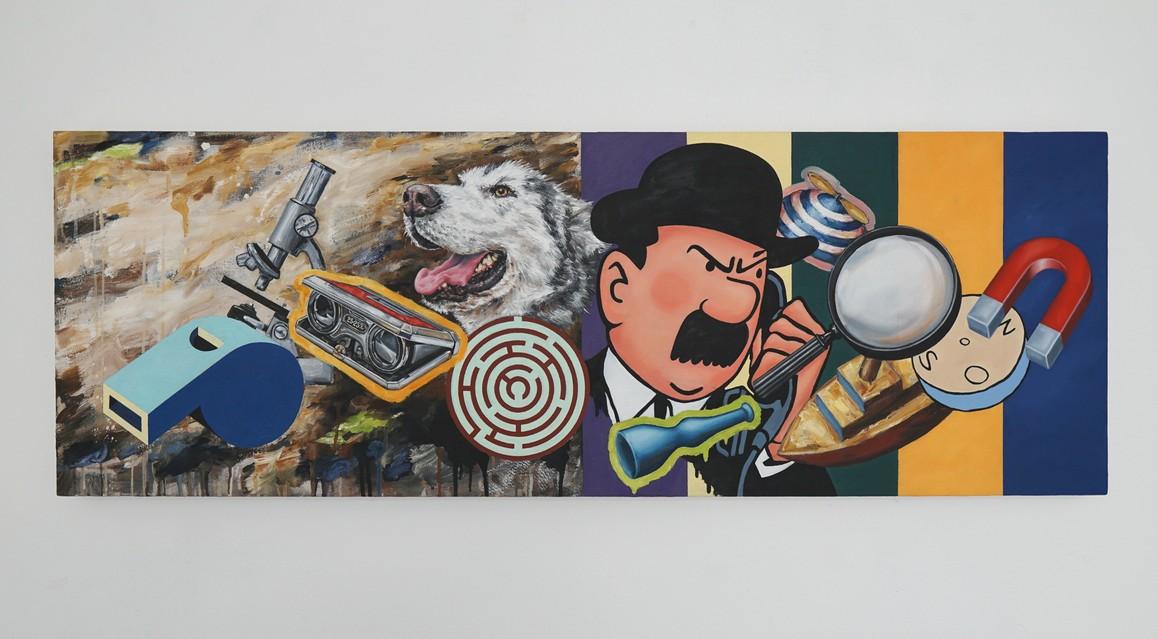 »Enzyklopädie der Hilfsmittel für die Suche nach dem Glück« 2018, Öl und Acryl auf Leinwand, 45 x 125 cm