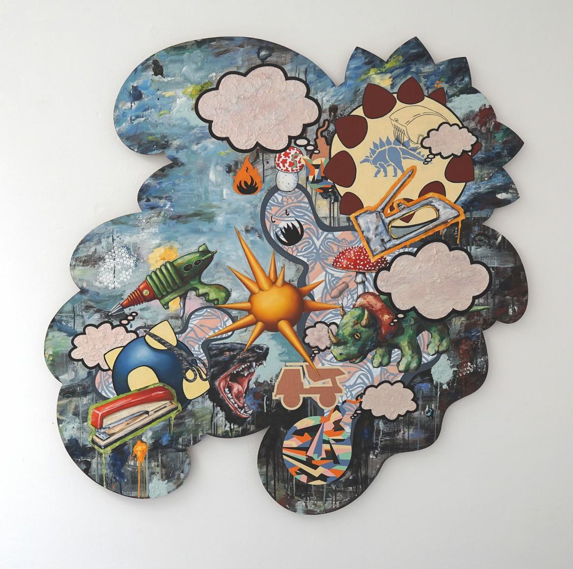 »Was ich fürchte ist die Gedankenlosigkeit 4« 2015, Öl und Acryl auf Holz, 150 x 150 cm