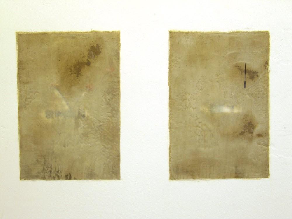 Norbert Eschger, o.T. 2012, Enkaustik, Papier auf Wand, je 35 x 20 cm