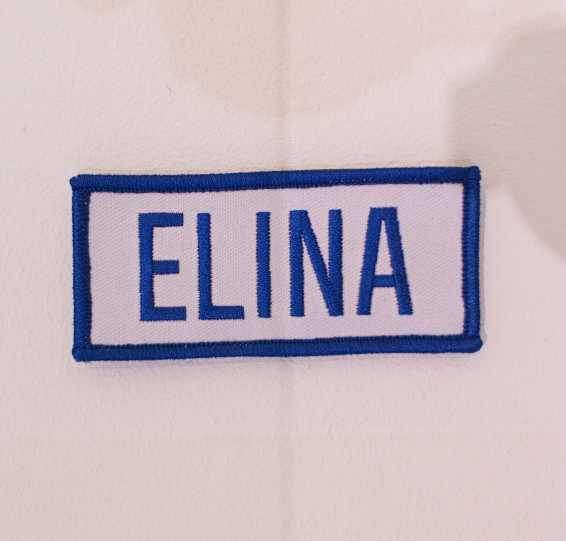 Badge »Projet Elina« – Baumwolle / 4,5 x 10 cm / 2015
