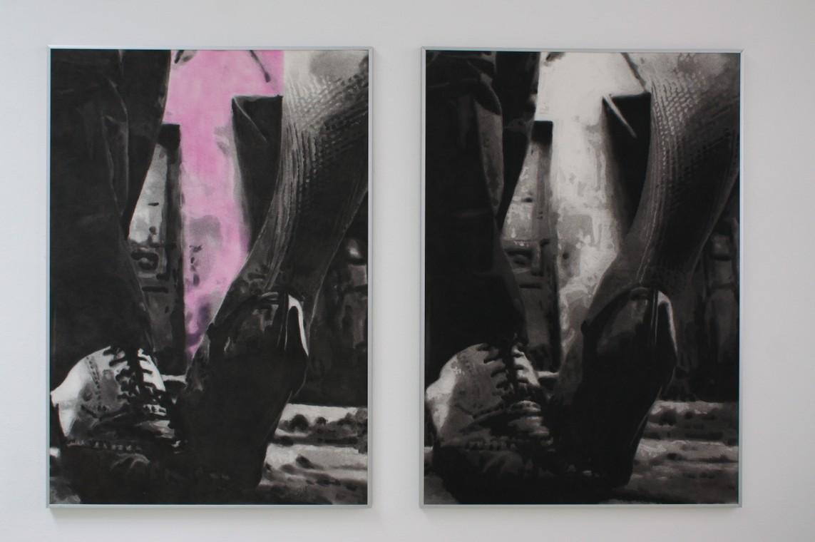 »Lissabon« / Kohle und Pastell auf Büttenpapier, 100 x 70 cm, 2015 // »Lissabon« / Kohle auf Büttenpapier, 100 x 70 cm, 2015