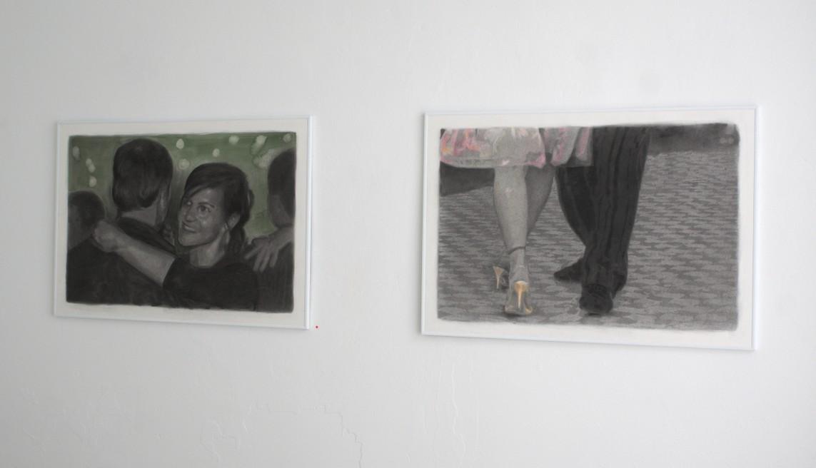 »Uschi und Willi« / Kohle, Aquarell und Pastell auf Büttenpapier, 60 x 90 cm, 2015 // »Laufenburg« / Kohle und Pastell auf Büttenpapier, 60 x 90 cm, 2016