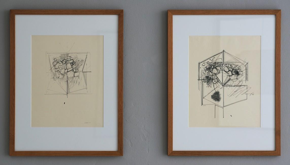 o.T., Feder-Tusche auf Papier, 44 x 35 cm, 1963 // o.T., Feder-Tusche auf Papier, 44 x 35 cm, 1965