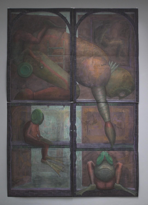 Kirti Ingerfurth – o.T. / Eitempera, 4-teilig, je 138 x 97 cm, 1988