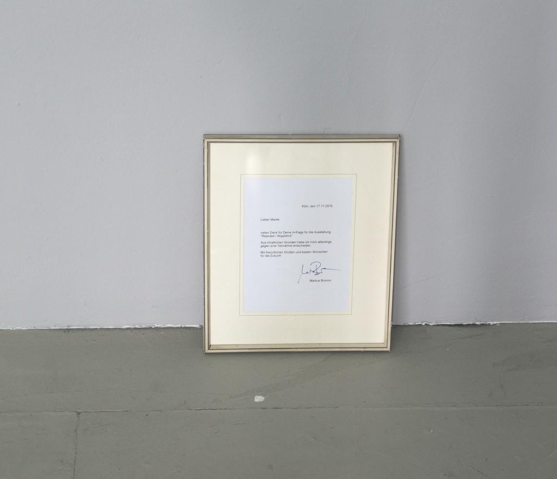 Markus Bromm – o.T. / Brief, Rahmen, 35,5 x 29,5 cm, 2016