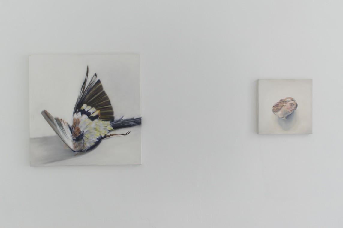 »Meise« Öl auf Leinwand, 80 x 80 cm, 2016 / »Angels Head« Öl auf Leinwand, 40 x 40 cm, 2017