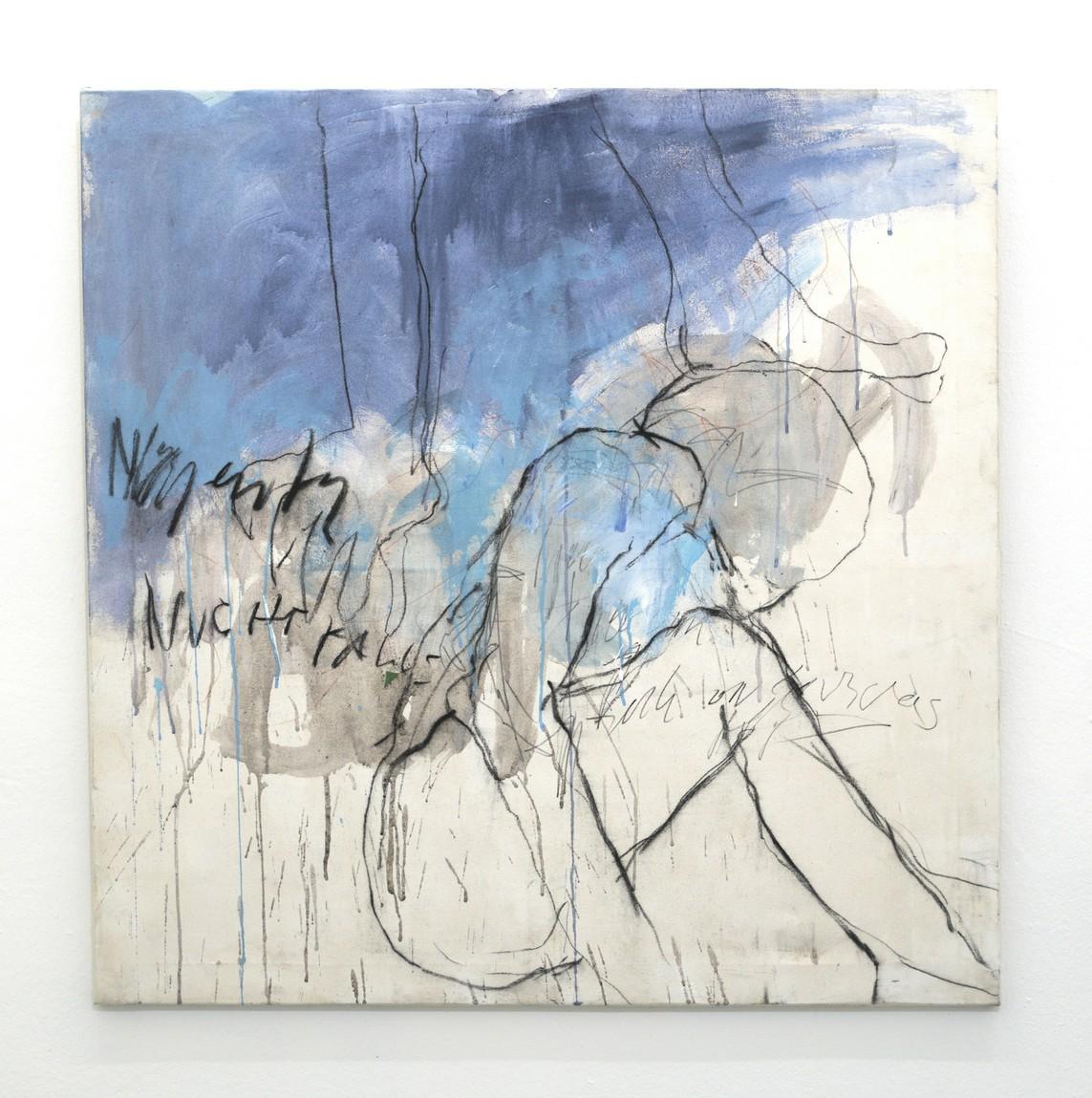 »Permeable self« 2017, Tinte und Kohle auf Leinwand, 100 x 100 cm