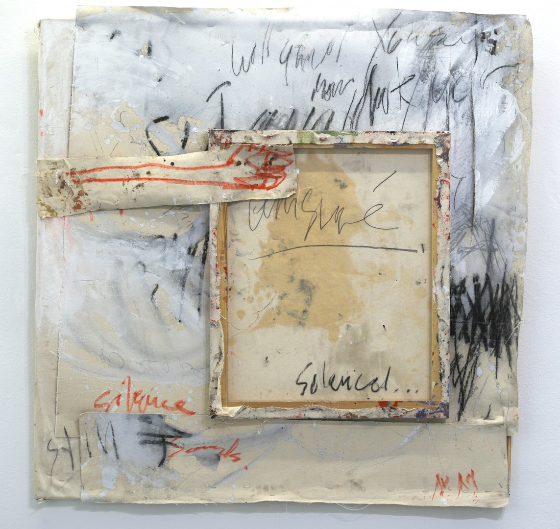 »Silenced« 2016, recycelte Leinwand, 103 x 102 cm