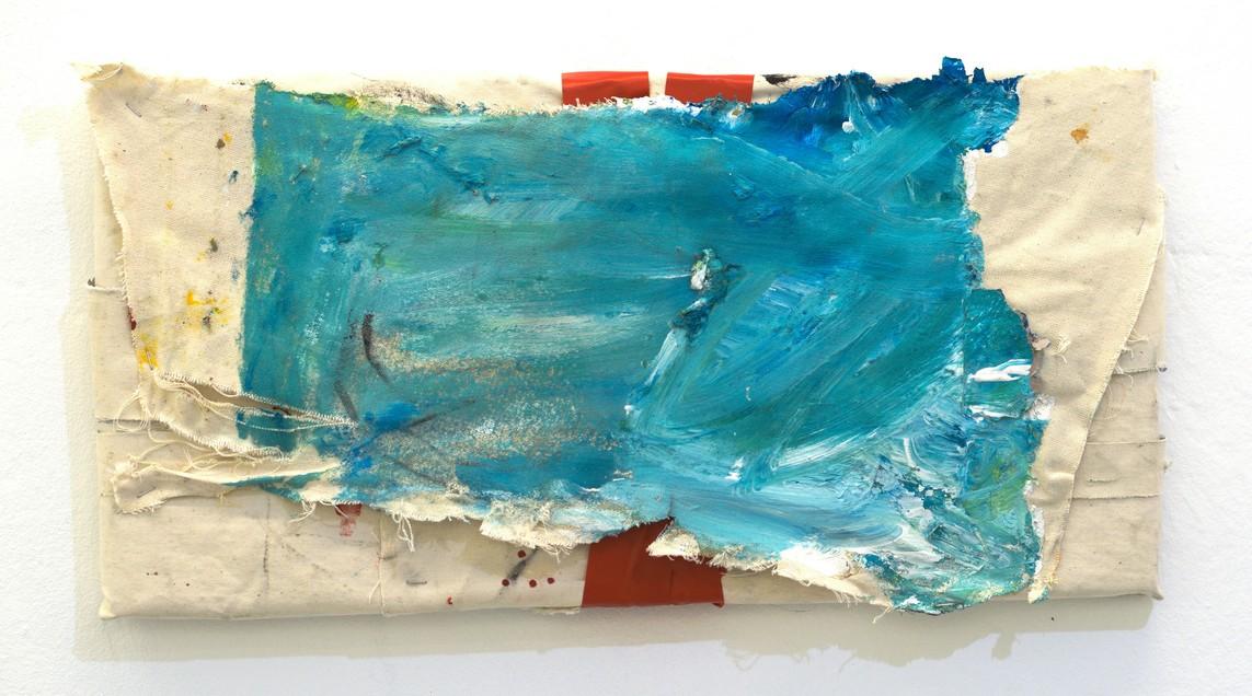 »Wrapped« 2017, recycelte Leinwand, Acryl, Klebeband, 31 x 61 cm