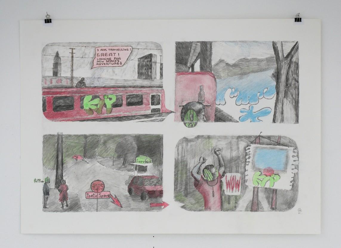 Kirti Ingerfurth: o.T., Graphit, Buntstift auf Papier, 49,5 x 70 cm