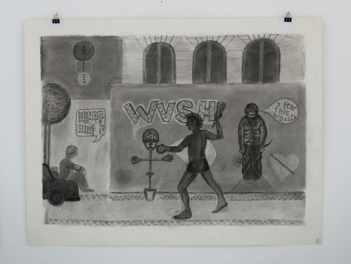 Kirti Ingerfurth: o.T., Kohle auf Papier, 50,5 x 65 cm