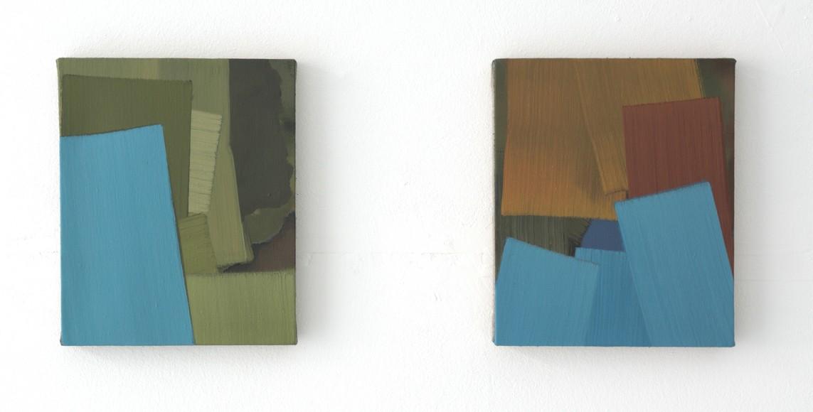 »Turf« 2018, Öl auf Leinwand, 30 x 25 cm   »Seten« 2018, Öl auf Leinwand, 30 x 25 cm