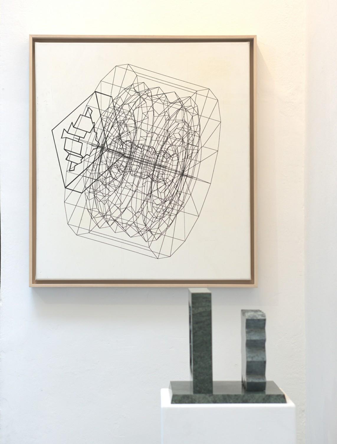 o.T., 2000, Tusche auf Leinwand, 70 x 63 cm