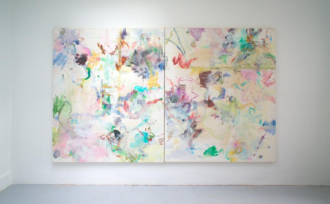 OT Nr. 02, 2011, Mischtechnik auf Leinwand, 200 x 340 cm (2-teilig)