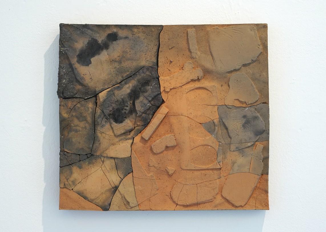 o.T. 12, 2018, Ton, Holzbrand, 46,5 x 41 x 4,5 cm