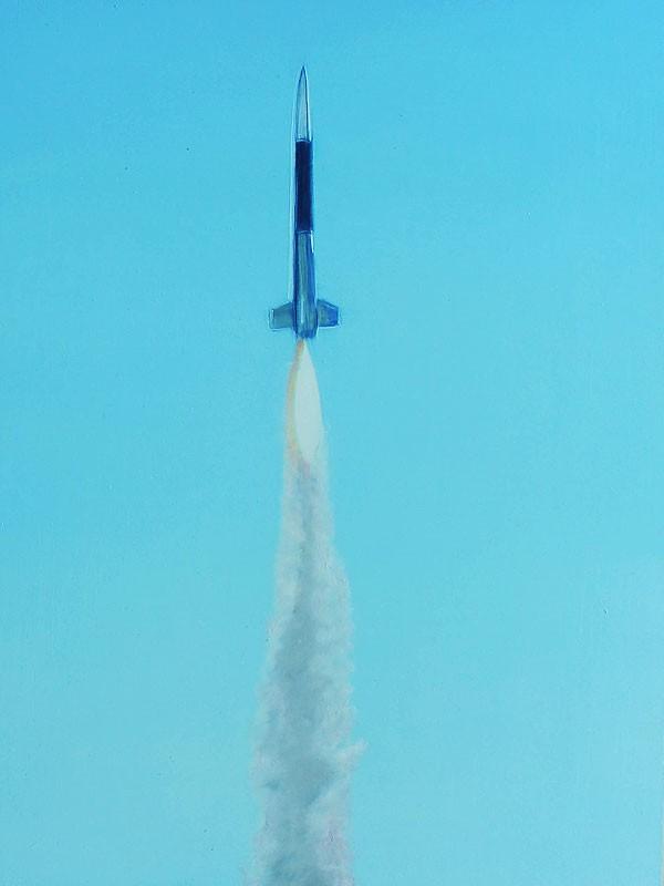 »7 Raketen« Öl auf MDF, 25 x 40 cm, 2012
