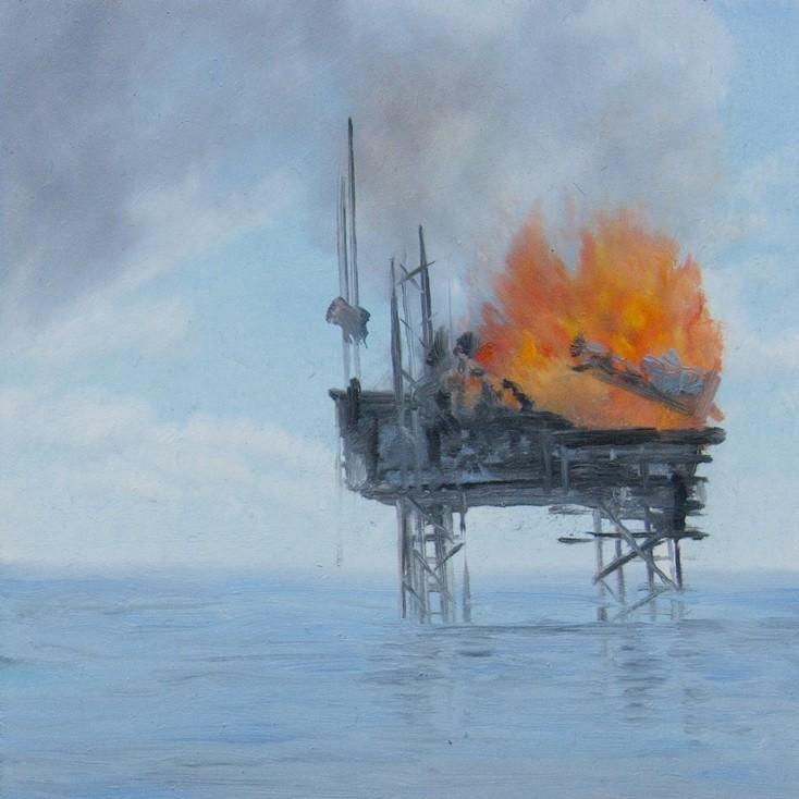 »deepwater horizon« 2010, Öl auf mdf, 10x10 cm
