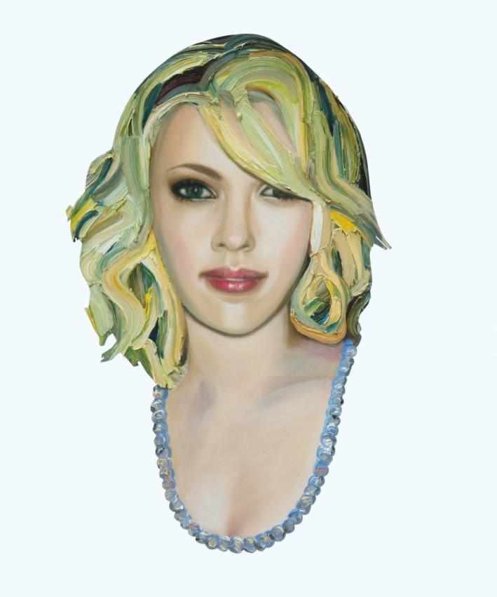 »Scarlett Johansson« Öl auf Alu-Dibond, 60 x 50 cm, 2014