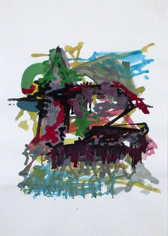 o.T. (Freiburg) 2009, Aquarell, Gouache auf Papier, 32 x 24 cm