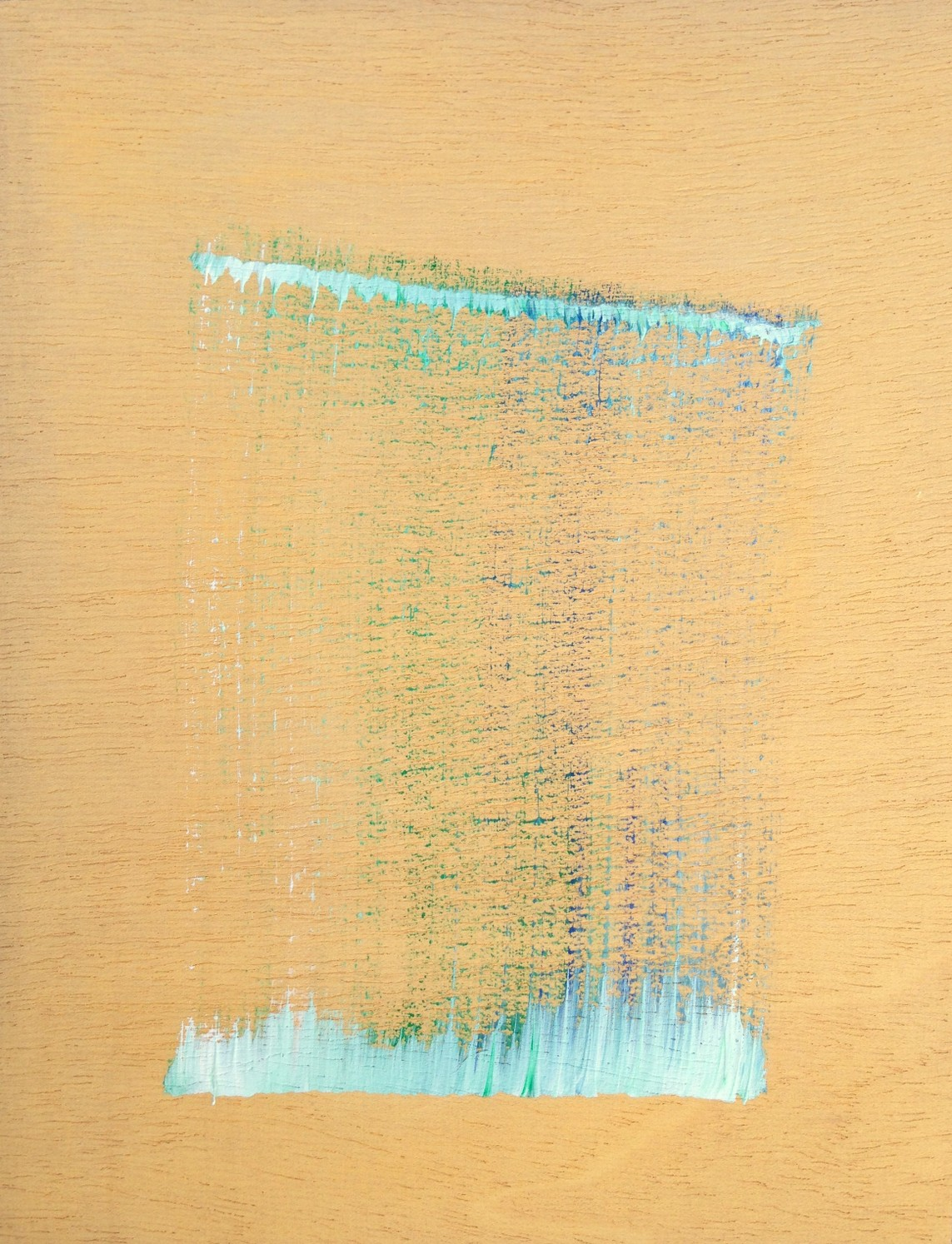 »single stroke in white, blue and green 2 (back to where I never was)« Acryl auf Holz, 33,4 x 25,7 cm, 2018