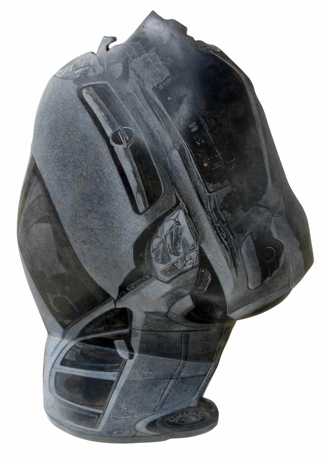 """Auto verletzt"", Beton / Gravur, 96 x 80 x 35 cm, 2016"