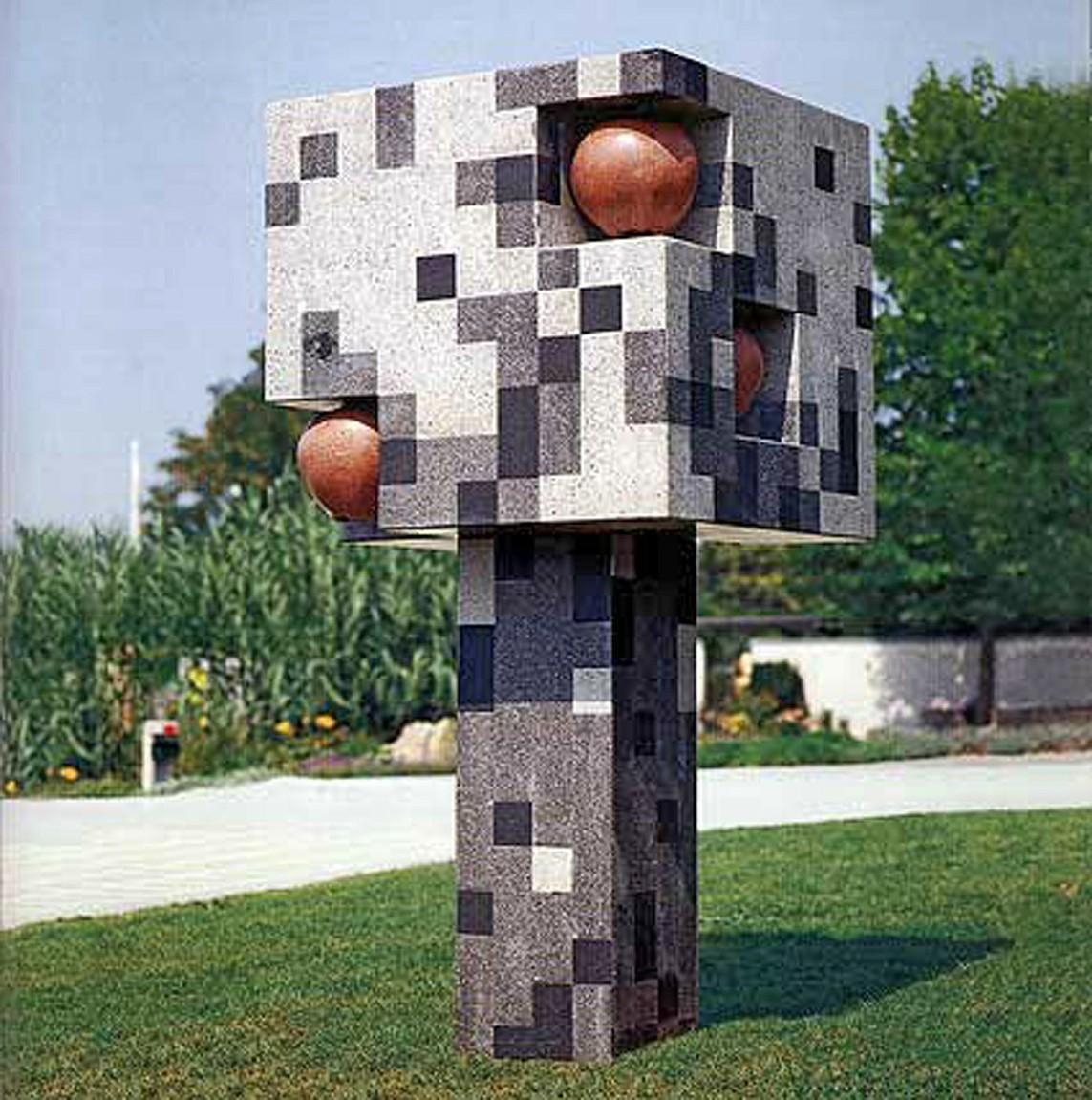 """""""Geometrischer Apfelbaum"""", Beton, 210 x 110 x 110 cm, 1998"""