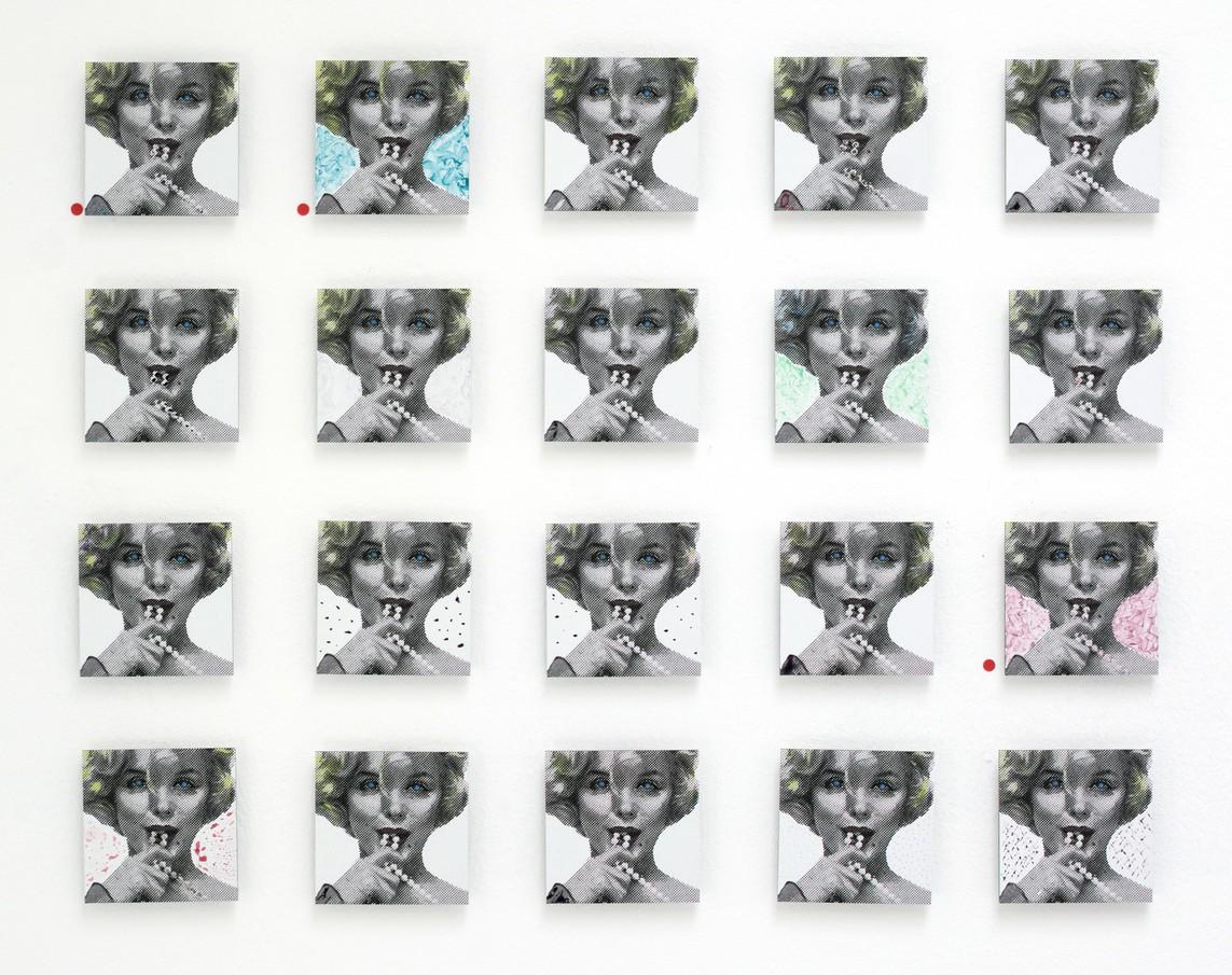»Marilyn 55« 55 Direktdrucke auf Alu-Dibond, Acryl, 2017, 10 x 10 cm