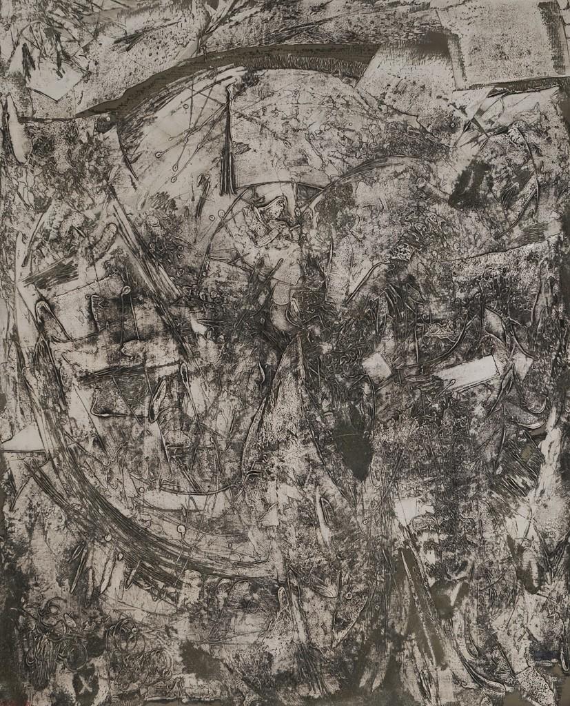 Graue Scheibe, Öl auf Leinwand, 160 x 130 cm, 1959