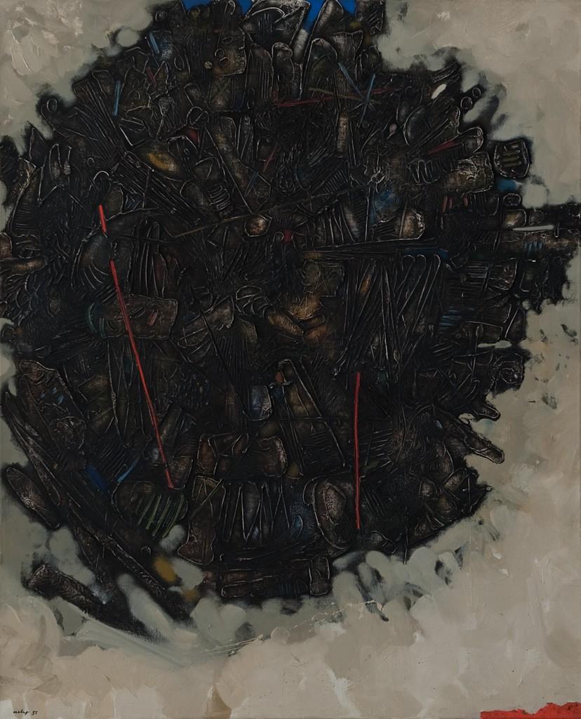 o.T., Öl auf Leinwand, 100 x 81 cm, 1957